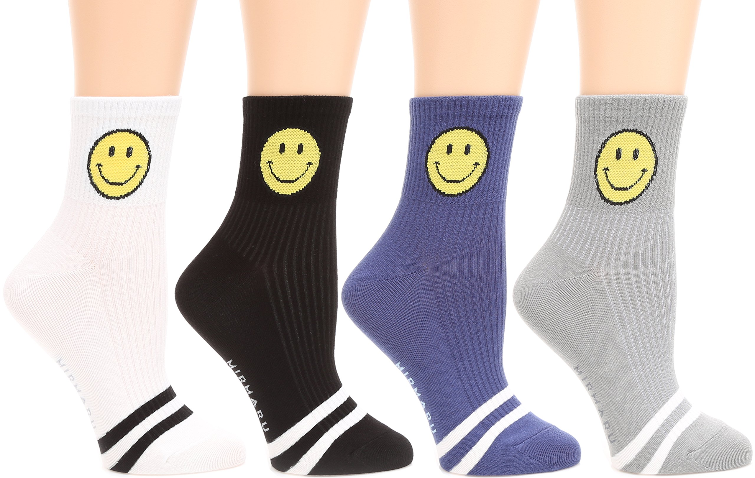 Women's 4 Pairs Novelty Crew Socks by MIRMARU | Colorful, Crazy, Funny, Casual, Famous Painting Art Printed Cotton Socks