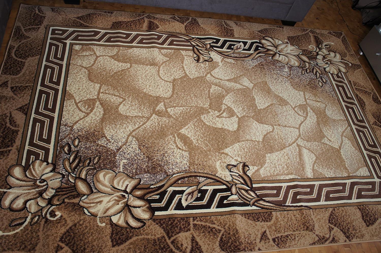 Karatcarpet Moderner Teppich Kurzflor Kollektion Gold 088 12 Hell Braun, Beige, Muster  Bordüre, Blumen. (200x300 cm)