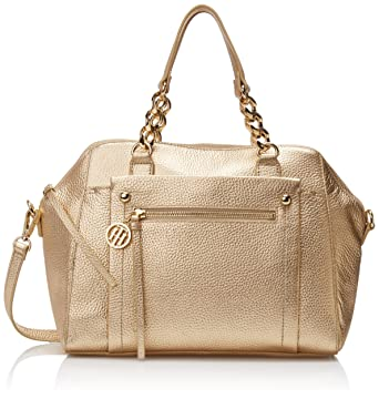 Tommy Hilfiger Tessa Dome Satchel Bag, Metallic/Gold, One Size ...