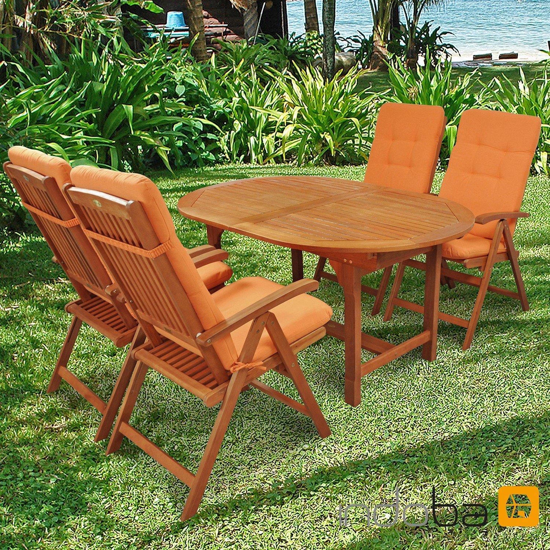 indoba® IND-70300-SSSE5 + IND-70404-AUHL - Serie Sun Shine - Gartenmöbel Set 9-teilig aus Holz FSC zertifiziert - 4 klappbare Gartenstühle + 1 ausziehbarer Gartentisch + 4 Relax Sitzauflagen terra