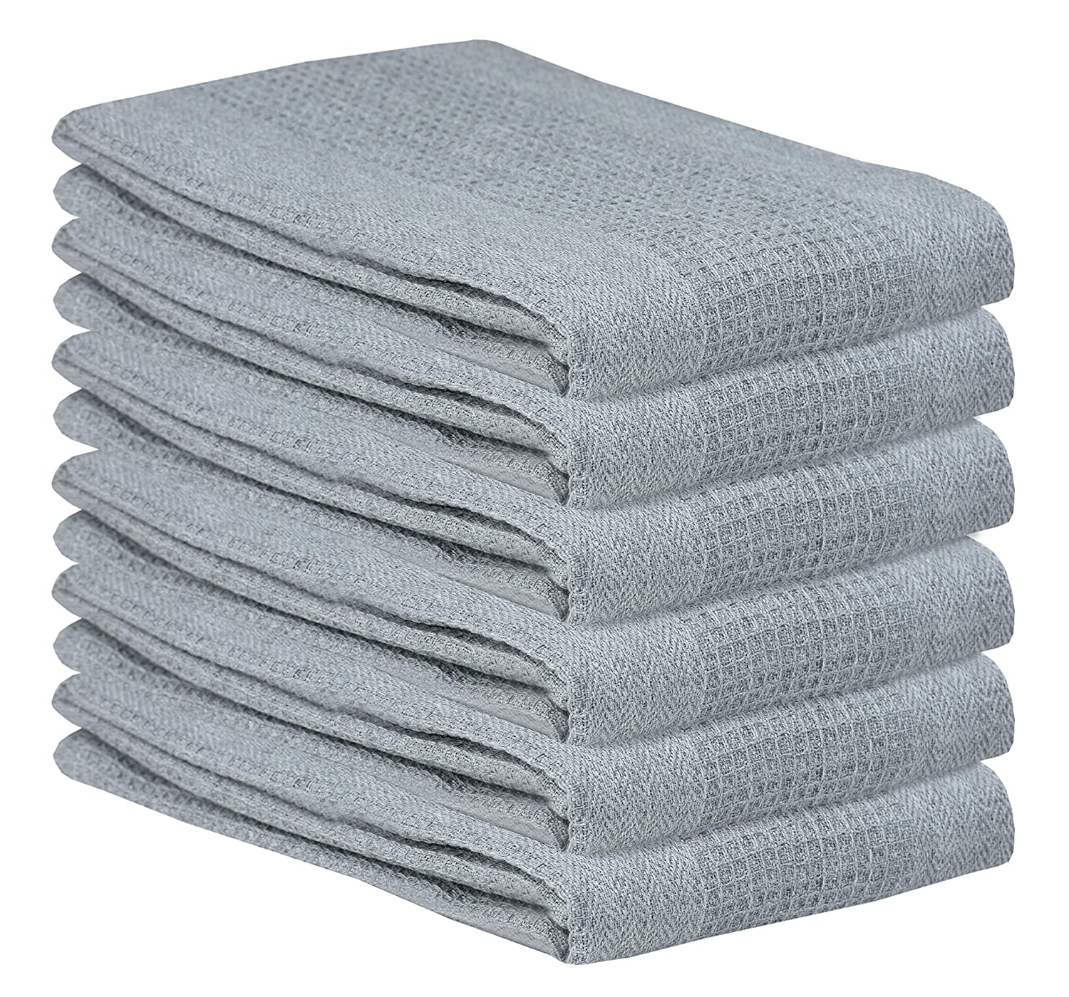 Absorbent Waffle Weave 6 Pack 18x28 White Quick Dry Kitchen Tea Towels Cleaning Towels Bar Towels Highly Absorbent Pure Cotton Kitchen Towel- Waffle Weave Tea Towels