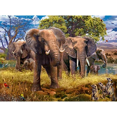 Ravensburger 15040 Elephants 500 Piece Puzzle for Adults - Every Piece is Unique, Softclick Technology Means Pieces Fit Together Perfectly: Toys & Games