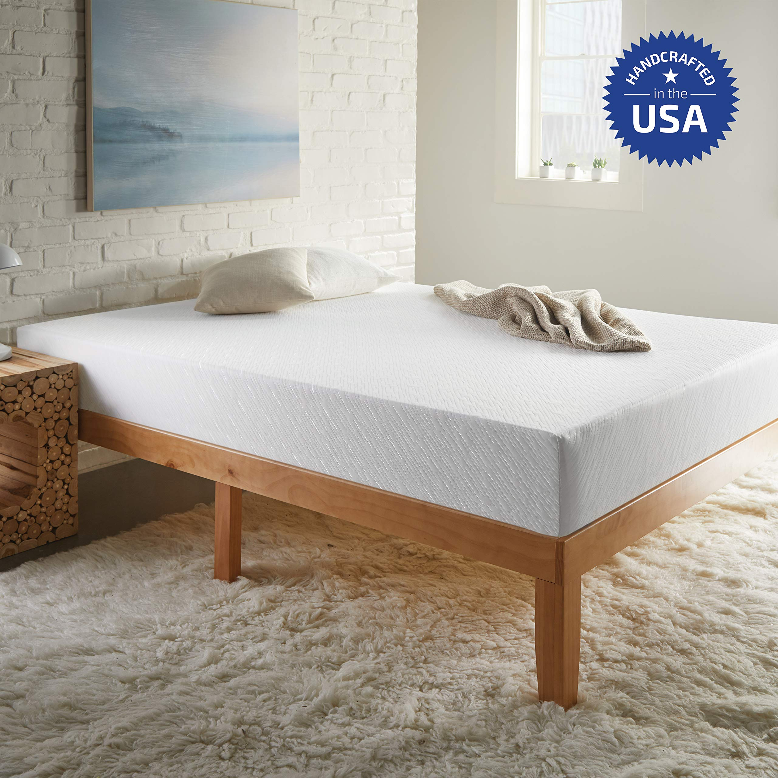 SLEEPINC. 8-Inch Memory Foam Mattress, Comfort Body Support, Mattress in Box, No Harmful Chemicals, Medium Firm, Handcrafted in The USA, 10-Year Warranty, Twin