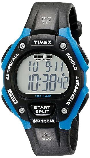 Timex T5K521 - Reloj digital unisex de cuarzo con correa de goma negra (cronómetro,
