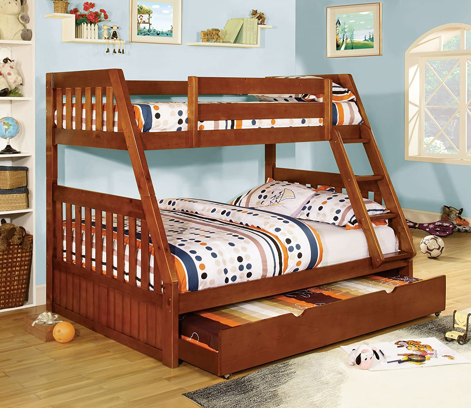 Amazon.com: Furniture of America Grisham Bunk Bed, Twin Over Full ...