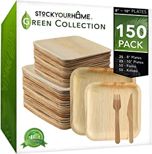 Stock Your Home Compostable Eco Friendly Bamboo Like Palm Leaf Plates and Cutlery Set (150 Pieces) - Wooden Disposable Plates - Wooden Disposable Cutlery - Rustic Themed Plates & Cutlery