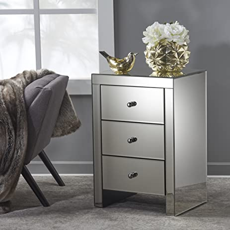 High Quality Fiona Classic Mirror Finished 3 Drawer Side Table