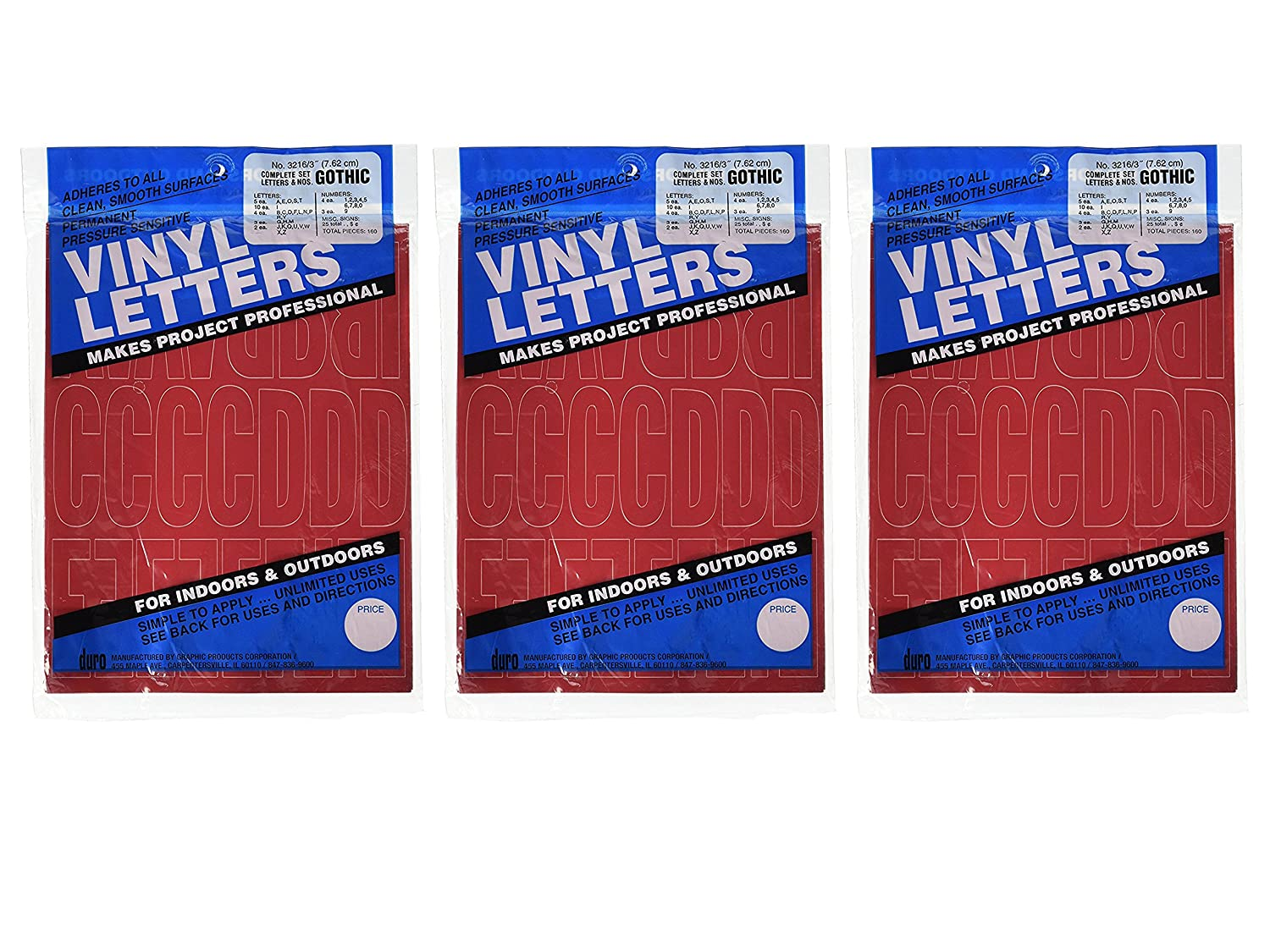 3 Gothic Red Bundled by Maven Gifts Set of 3 Duro Decal Permanent Adhesive Vinyl Letters /& Numbers