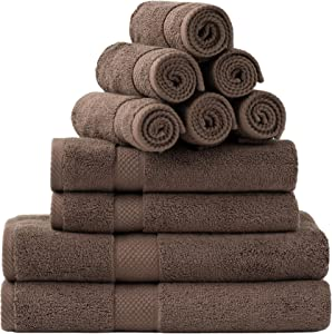 Bedsure Towel Sets for Bathroom, Combed Cotton Bath Towels Set - 10 Pack, 2 Bath Towels 27x54, 2 Hand Towels 16x30, 6 Wash Cloths 13x13, Absorbent & Soft - Brown