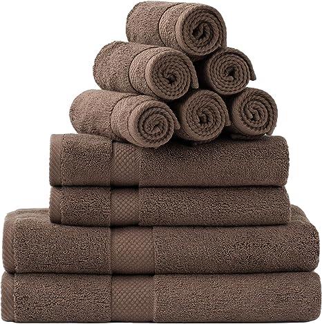 Amazon Com Bedsure Towel Sets For Bathroom Combed Cotton Bath Towels Set 10 Pack 2 Bath Towels 27x54 2 Hand Towels 16x30 6 Wash Cloths 13x13 Absorbent Soft Brown Kitchen Dining