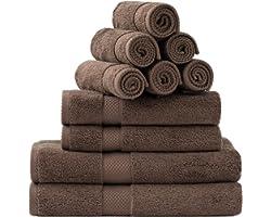 Bedsure 10 Pack Brown Bath Towel Sets for Bathroom - Combed Cotton Bath Towels Set , 2 Bath Towels 27x54, 2 Hand Towels 16x30