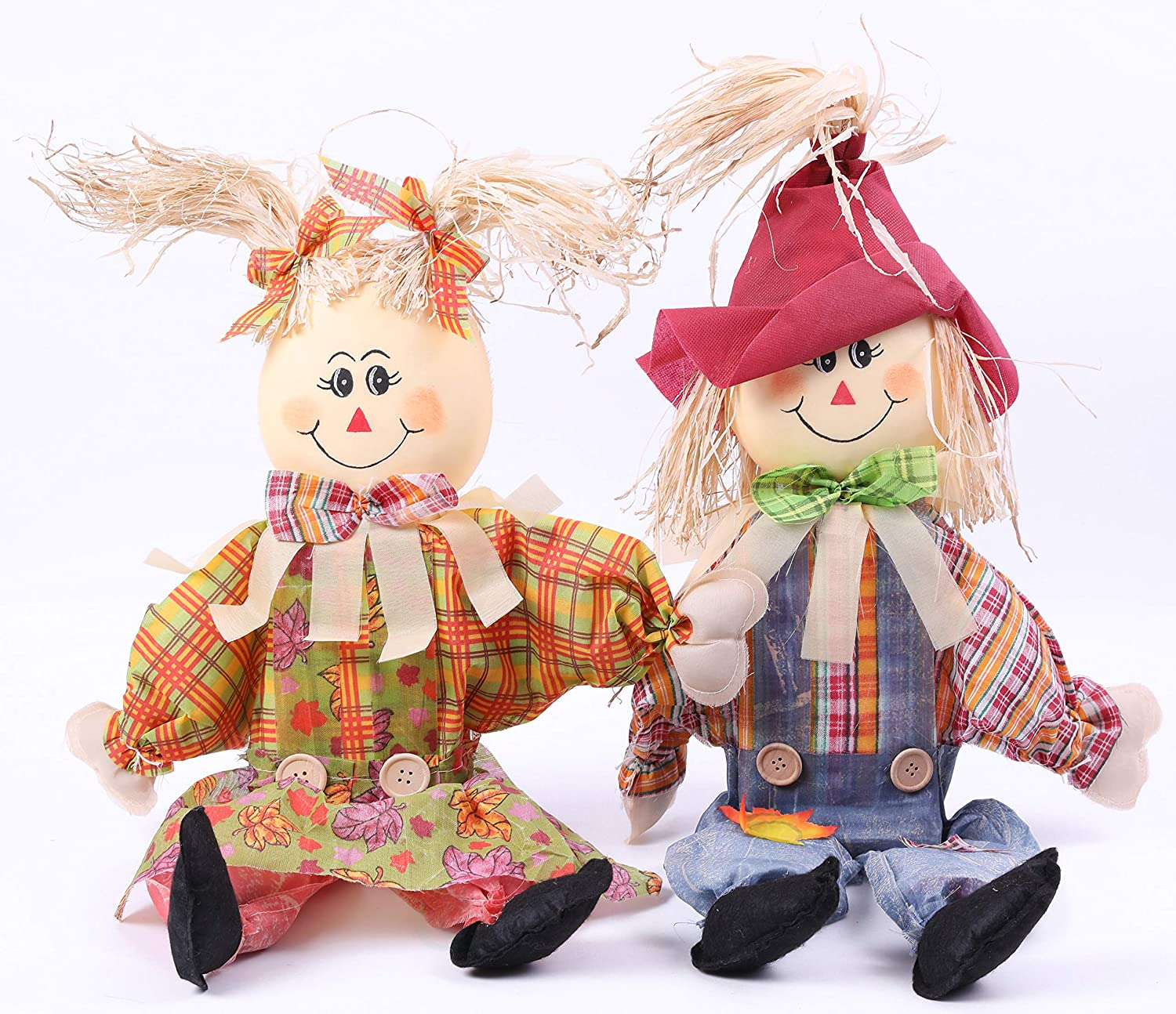 Gardenised QI003422 24 Inch Sitting Scarecrow Sister and Brother Set with Red Hat