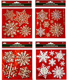 Amazoncom Winter Wonderland Christmas Party Snowflake Glitter - Snowflake window stickers amazon