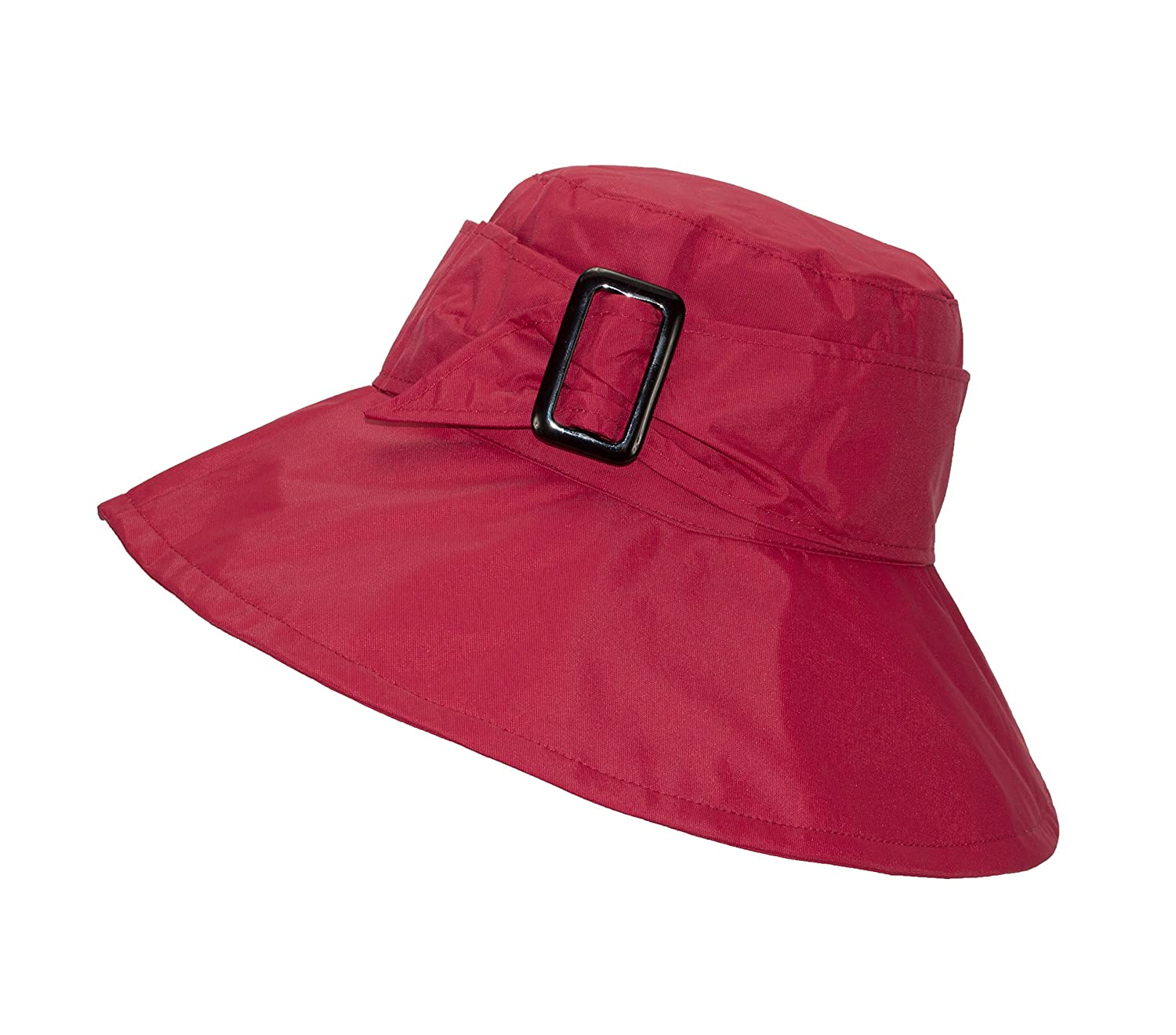 FLH Cute Bucket Rain Hat w/Buckle Accent, 3.5 inch Wide Brim, Roll-Up Packable 0306