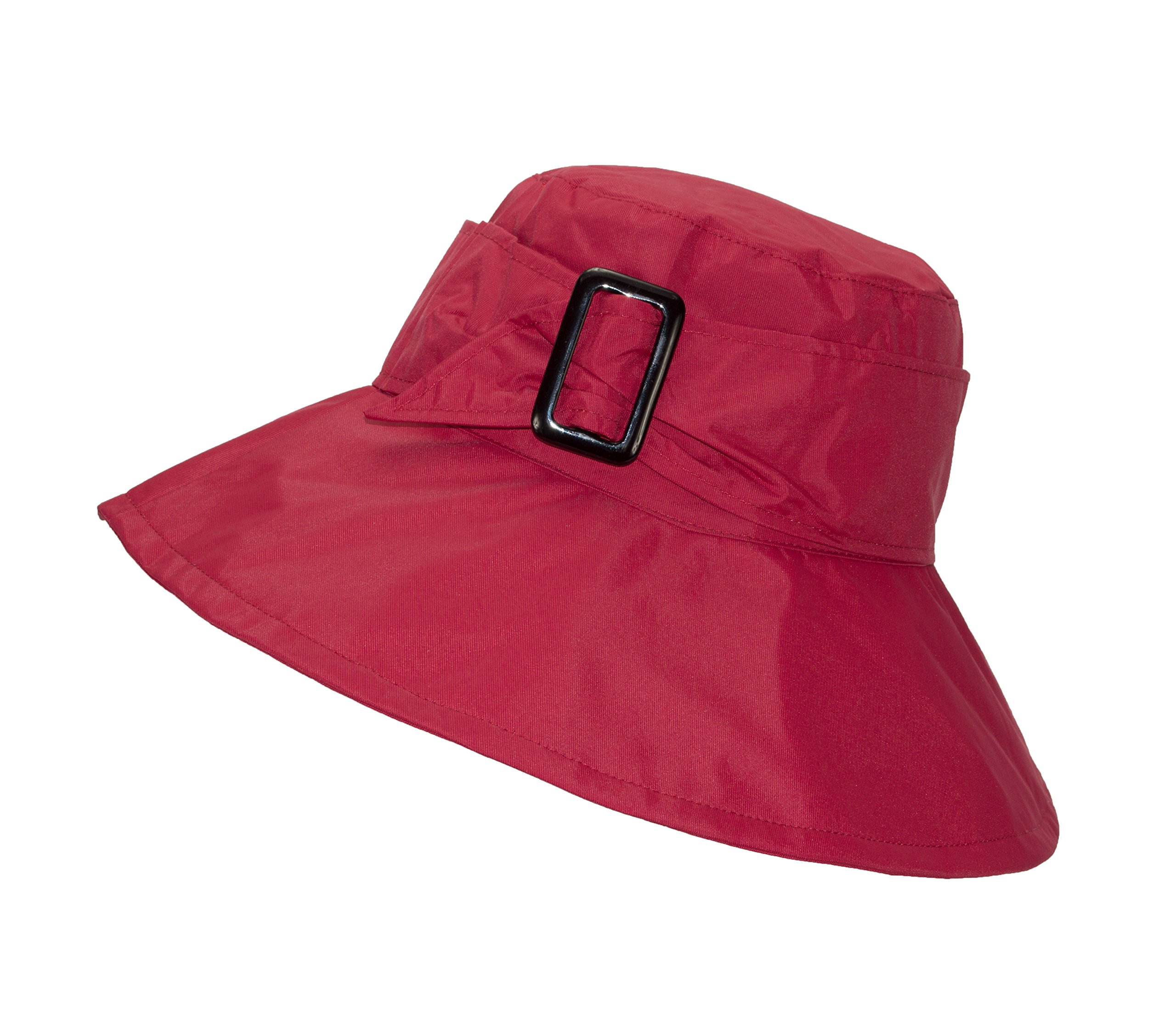 FLH Cute Bucket Rain Hat w/Buckle Accent, 3.5 inch Wide Brim, Roll-Up Packable (Red)
