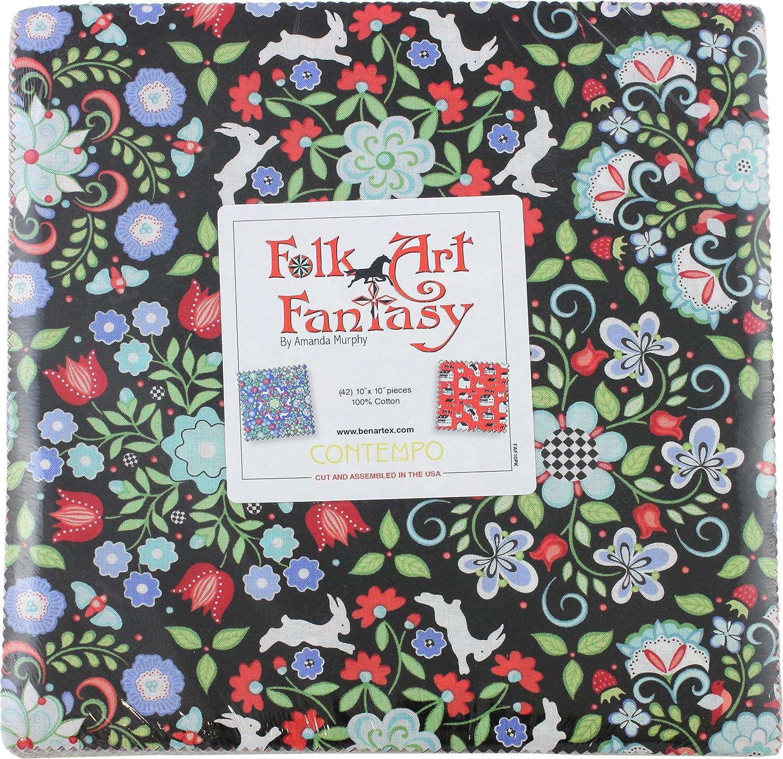 Amanda Murphy Folk Art Fantasy 10X10 Pack 42 10-inch Squares Layer Cake Benartex