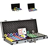 SONLEX Pokerkoffer mit 300 500 1000 Laser Pokerchips 12 g abschließbar Pokerkarten Zubehör Deluxe Pokerset Casino Chipszahl wählbar (500 Chips)