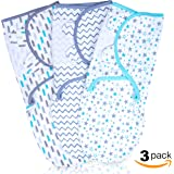 Baby Swaddle Wrap for Newborn | Breathable Plush Cotton With Adjustable Velcro Straps | 3 Set of Unisex Colors And Patterns | Keep Your Infant Safe, Comfy & Warm | Prevent Startle Reflex | 0-3 Months