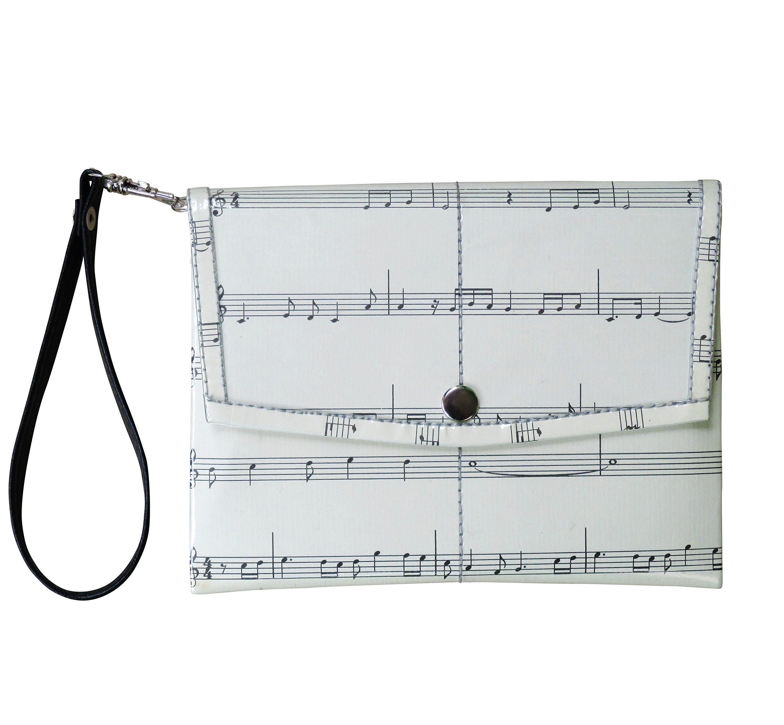 Small snap wristlet for music lovers - FREE SHIPPING - upcycled eco friendly vegan recycled reclaimed salvaged handmade unique purse gift for musician purse wallet musical note scores pianist by Upcycling by Milo