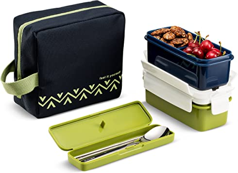 Amazon.com: Komax Lunchmate Bento - Kit de fiambrera con 2 ...