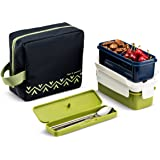 Komax Lunchmate Bento Lunch Box Kit - Insulated Bag with 2 Biokips Food Storage Airtight Containers (17.9oz), Utensils and Chopsticks - Bpa Free Plastic With Locking Lids Great for Woman and Kids