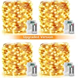 [Upgraded Version] 33Ft 100 LED Fairy String Lights Battery Operated, Waterproof 8 Modes Remote Control Timer Copper Wire Twinkle String Lights for Bedroom Wedding Party Decor (Warm White - Pack of 4)