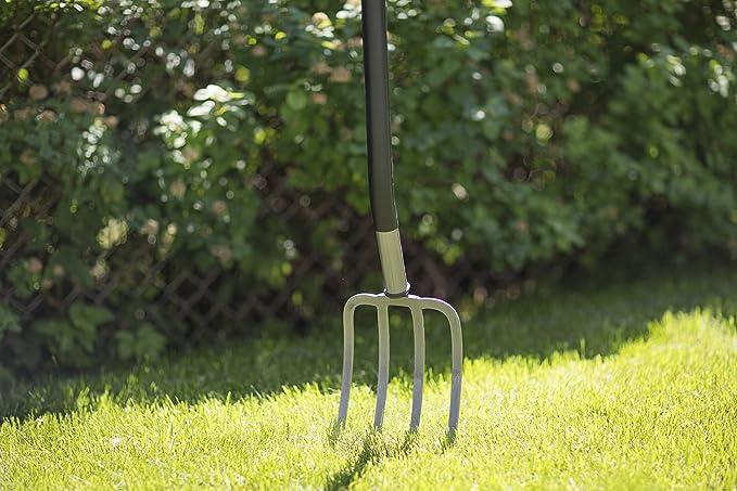 Fiskars Horca de jardín para suelos duros y pedregosos, 4 dientes, Longitud: 122 cm, acero al boro de alta calidad, Gris/Negro, Ergonomic, 1001413: Amazon.es: Jardín