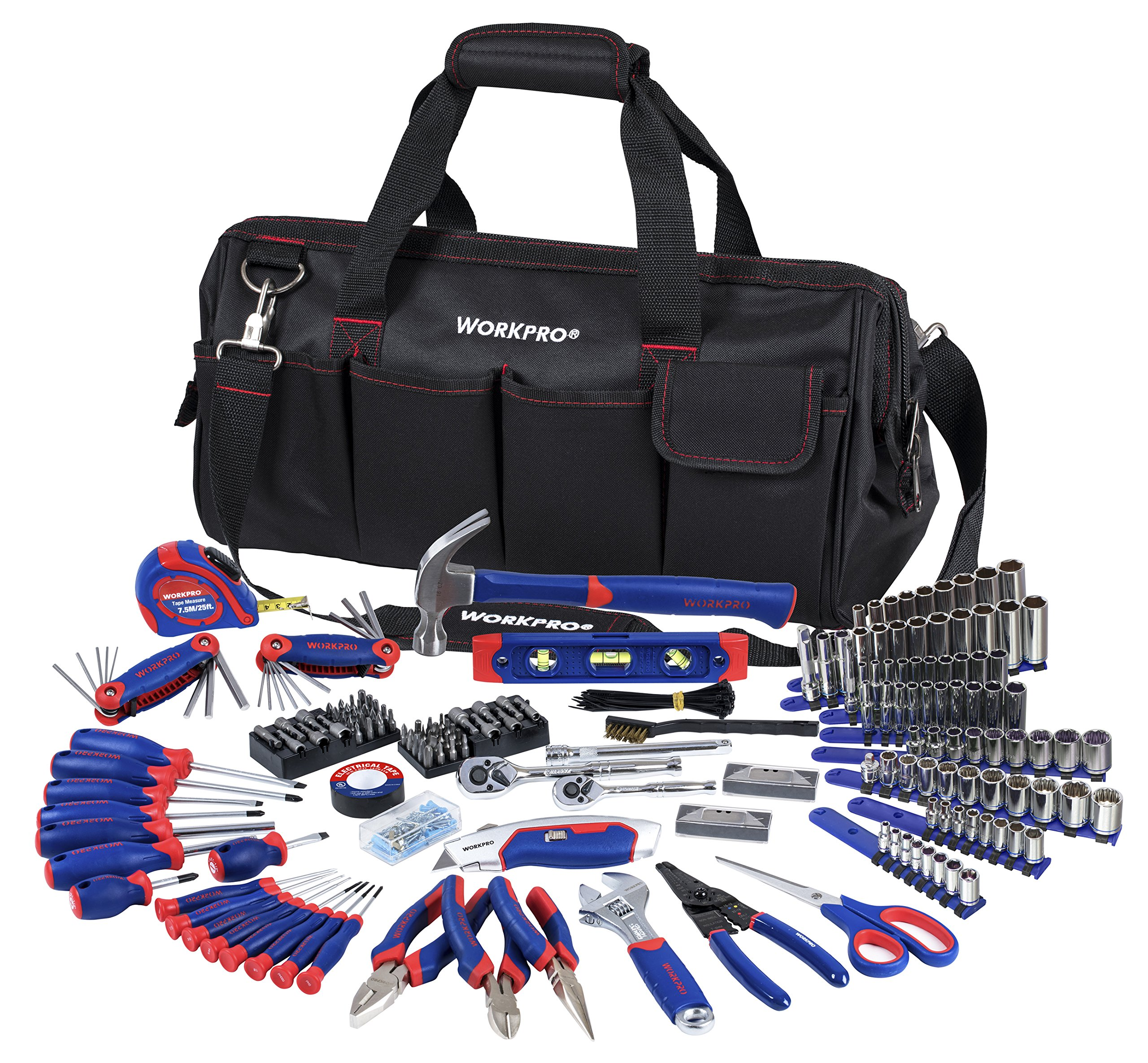 WORKPRO W009037A Home Repair Hand Tool Kit Basic Household Tool Set with Carrying Bag, 322-Piece