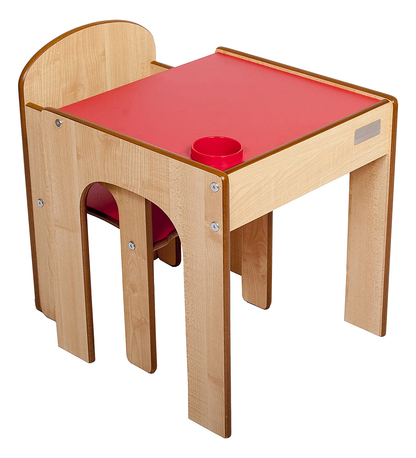 Little Helper FunStation Toddler Table and Chair Set (Maple/Red) FS01MR-E