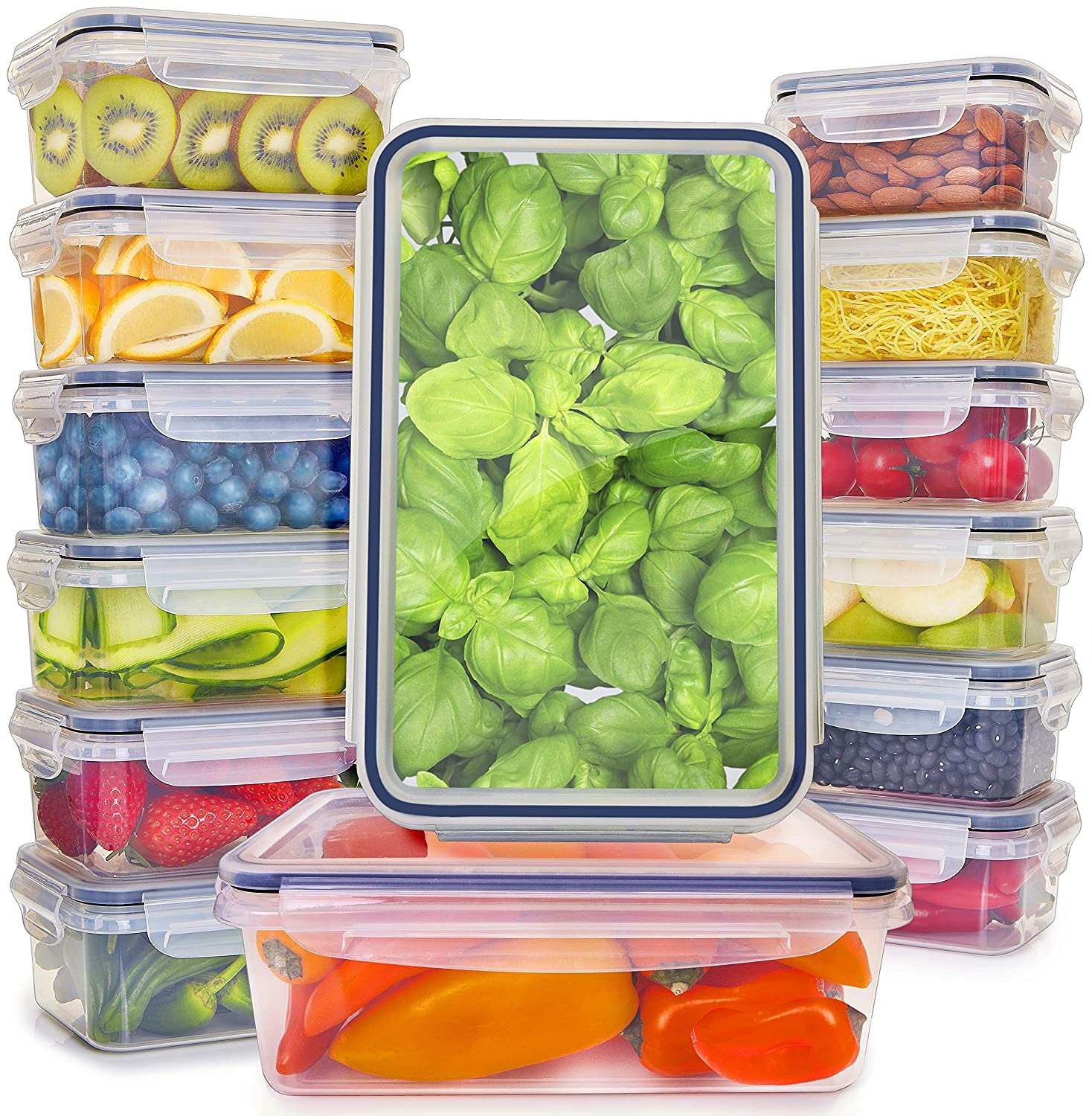 Food Storage Containers with Lids - Plastic Food Containers with Lids - Plastic Containers with Lids BPA Free - Leftover Food Containers - Airtight