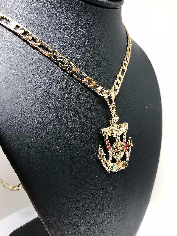 Gold Plated Jesus Crucifix Anchor Pendant Necklace Figaro 26 Jesus Crucifijo Ancla Medalla