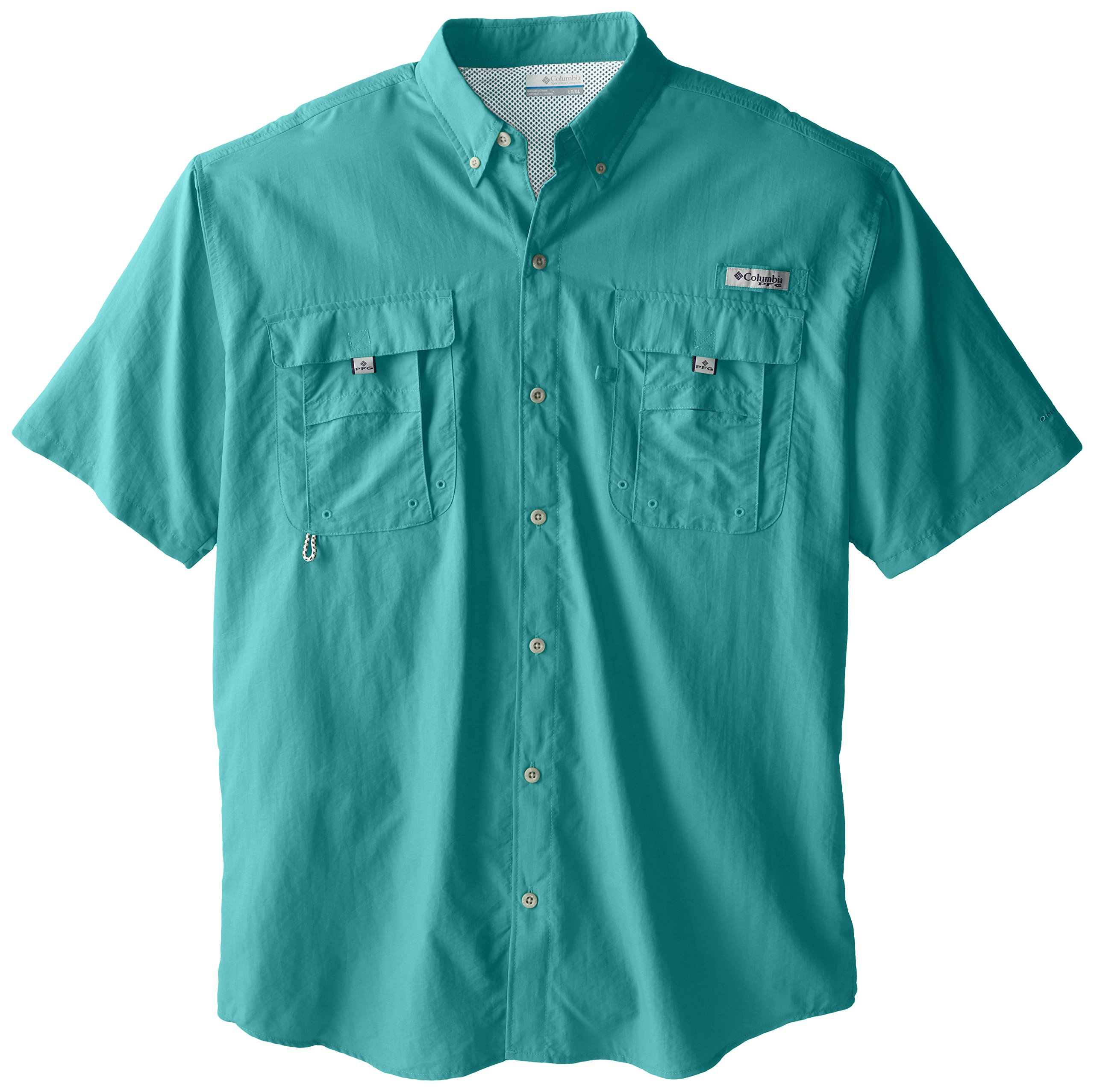 Columbia Men's PFG Bahama II Short Sleeve Shirt, Teal, Large
