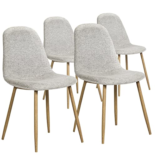 Best Choice Products Set of 4 Modern Fabric Dining Side Chairs – Light Gray