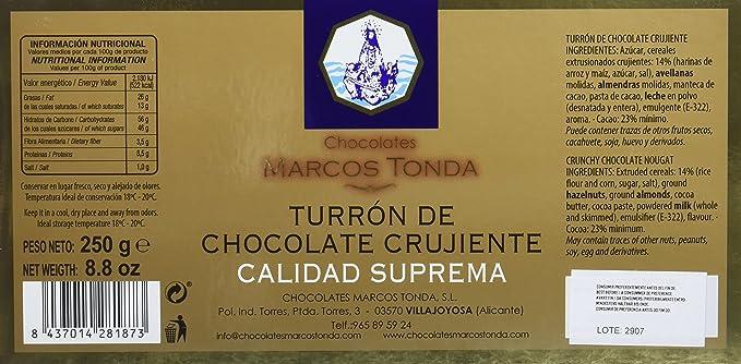 Chocolates Marcos Tonda Turrón de Chocolate Crujiente Calidad Suprema - 7 Paquetes de 250 gr - Total: 1750 gr: Amazon.es: Alimentación y bebidas