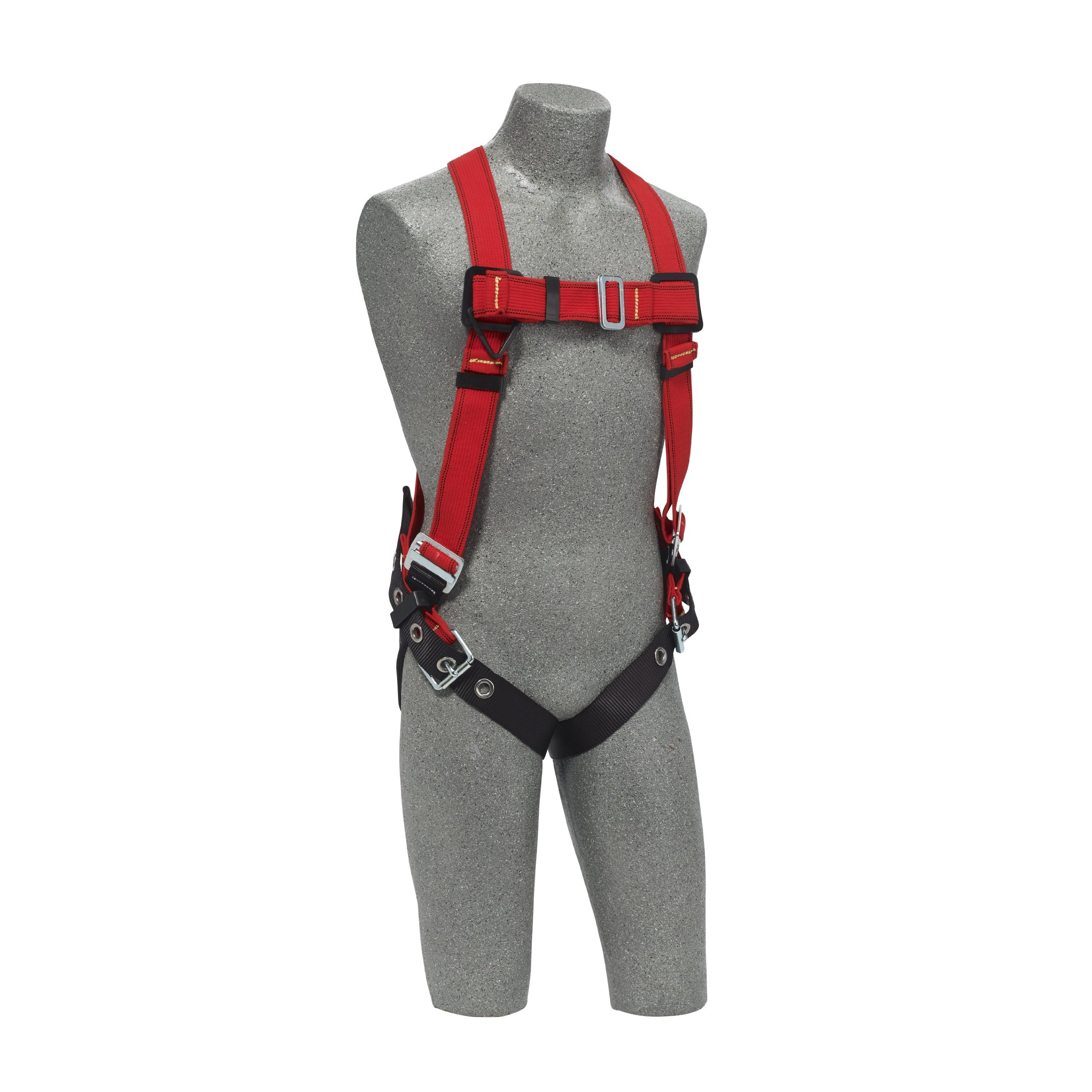 3M Protecta PRO 1191383 Fall Protection Full Body Welders Harness, with Back D-Ring, Tongue Buckle Legs, 420 Pound Capacity, Medium/Large, Red/Black