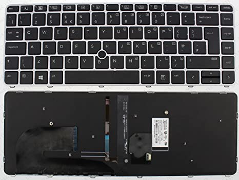 WJY Laptop Replacement Keyboard for HP EliteBook Folio 1040 G3 SILVER FRAME BLACK Backlit UK 903667-031 UK Keyboard