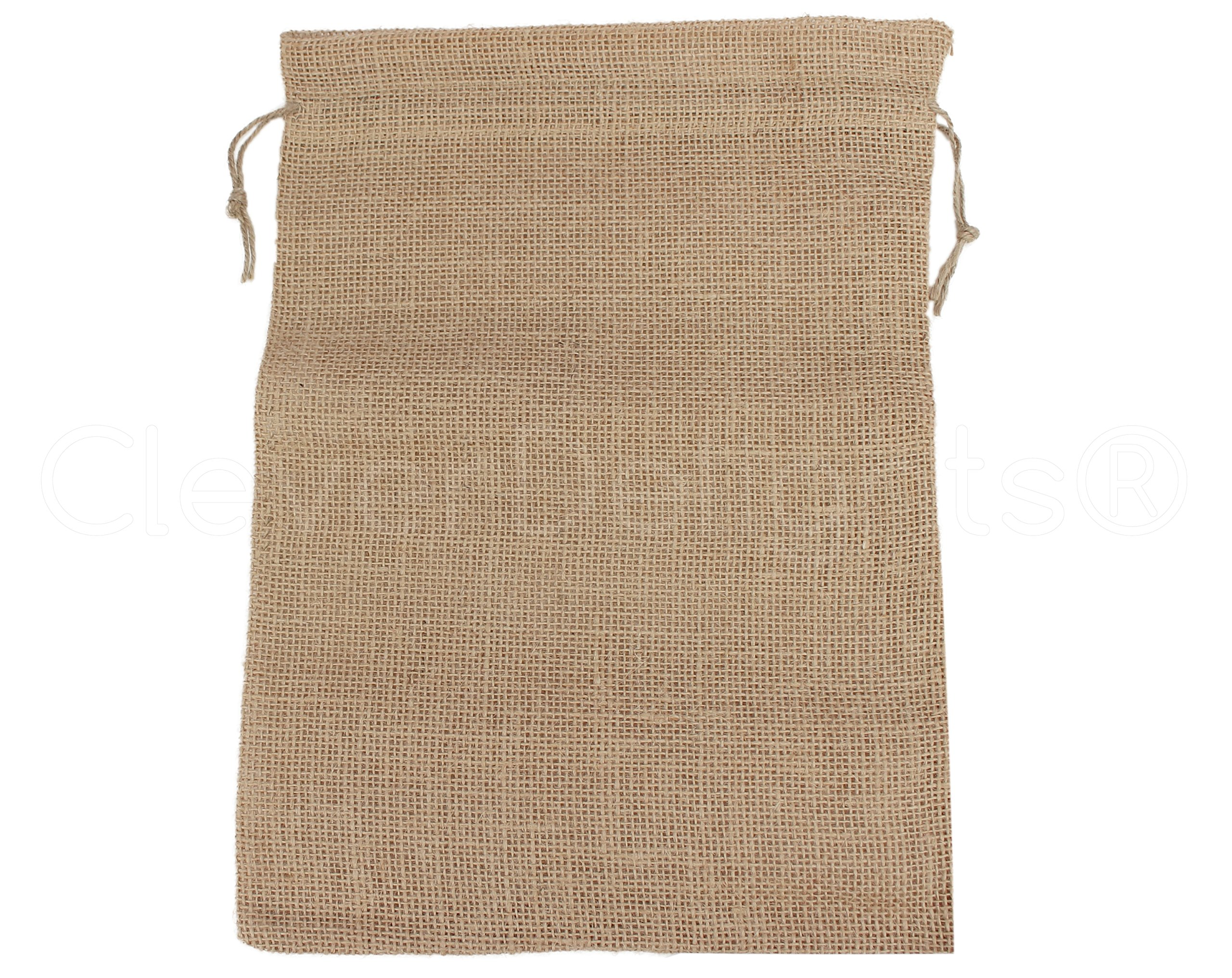 CleverDelights 10'' x 14'' Burlap Bags with Natural Jute Drawstring - 10 Pack - Large Burlap Pouch Sack Favor Bag for Showers Weddings Parties and Receptions - 10x14 inch by CleverDelights (Image #2)