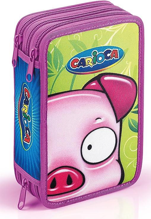 Carioca - Estuche para lápices (3 cremalleras, capacidad para hasta 39 lápices), diseño de cerdito: Amazon.es: Oficina y papelería