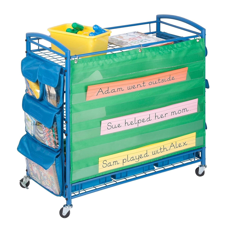 amazoncom honeycando crt03477 all purpose rolling activity cart blue 34l x 35h home u0026 kitchen
