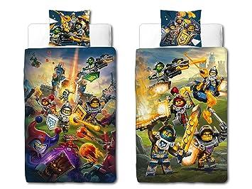 Beronage Linon Kinder Bettwäsche Lego Nexo Knights Blue Action 135