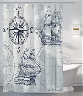 MrsAwesome Water Repellent Fabric Nautical Theme Shower Curtain White 71X72 InchesDecor