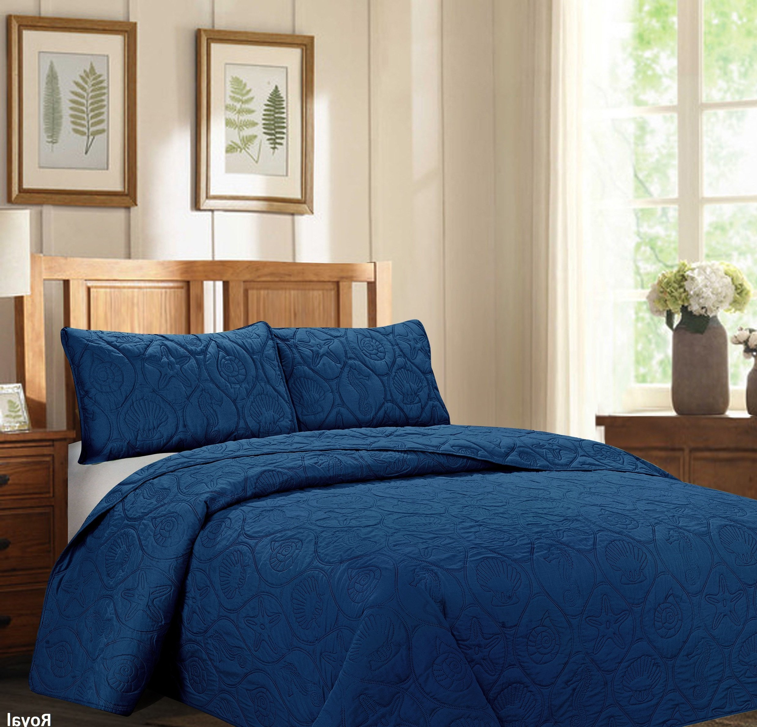 ON 3 Piece Royal Navy Blue Queen Bedspread Set, Ocean Themed Bedding Shell Pattern Sea Animal Nautical Beach Chic Modern Coastal Trendy Cottage Star Fish Snail Oversized Solid, Microfiber