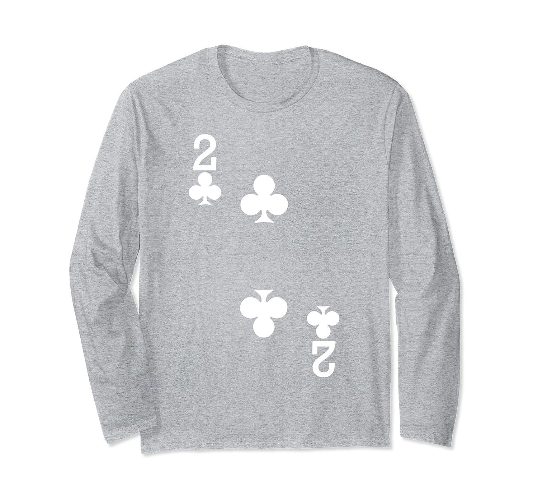 f19e2558 2 of Clubs – Playing Card Halloween Shirt Long Sleeve (Dark)-Rose