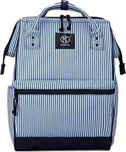 Kah&Kee Polyester Travel Backpack Functional Anti-theft School Laptop for Women Men (Stripe Blue Navy, Small)