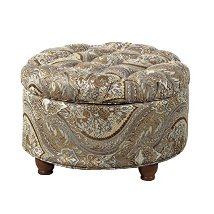Phenomenal Homepop N8264 F1044 Round Tufted Storage Ottoman Living Room Furniture Brown And Teal Pasley Machost Co Dining Chair Design Ideas Machostcouk
