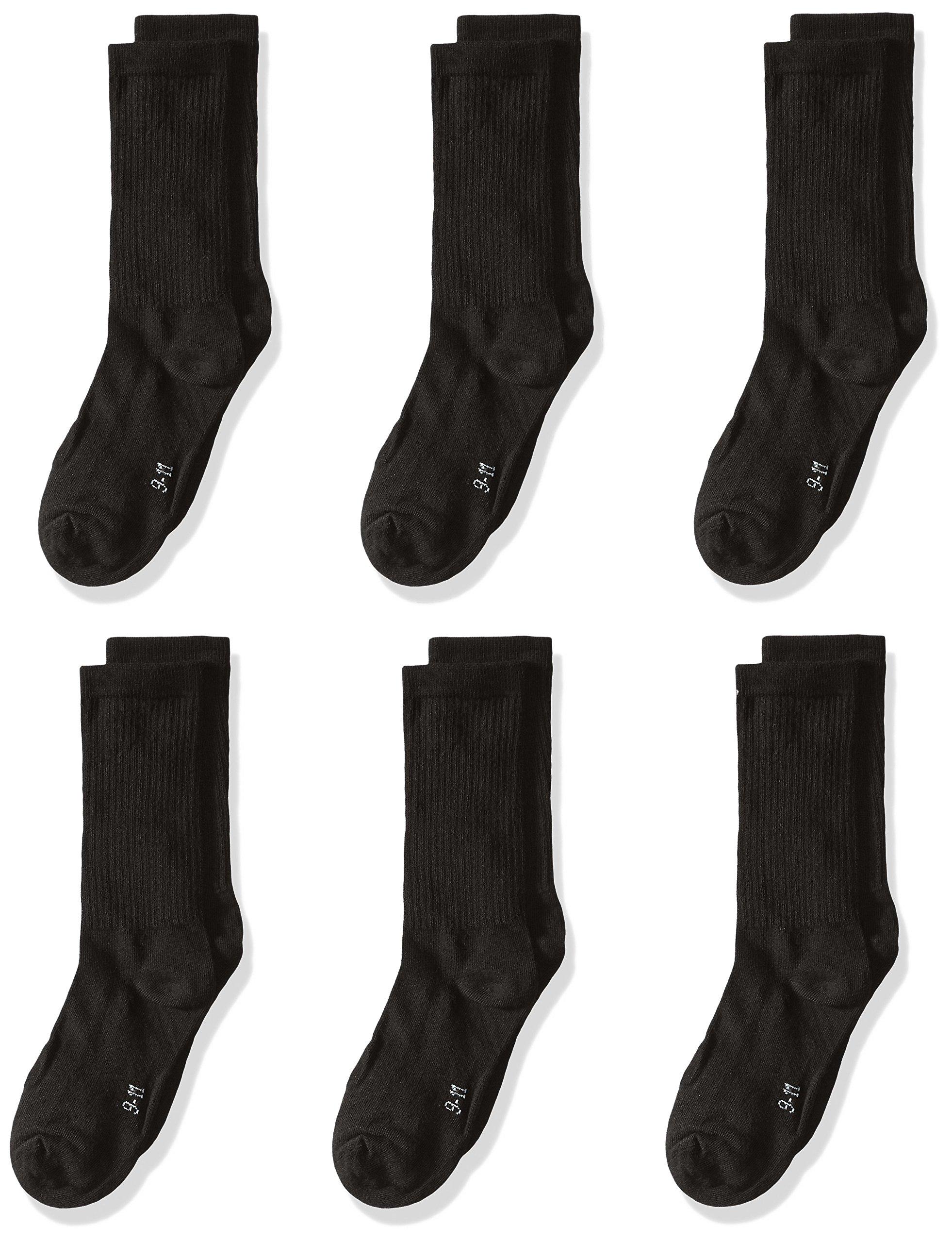 trimfit Big Boys' 6 Pack Cotton Rib Crew Socks (Comfortoe), Black, Large/9-11