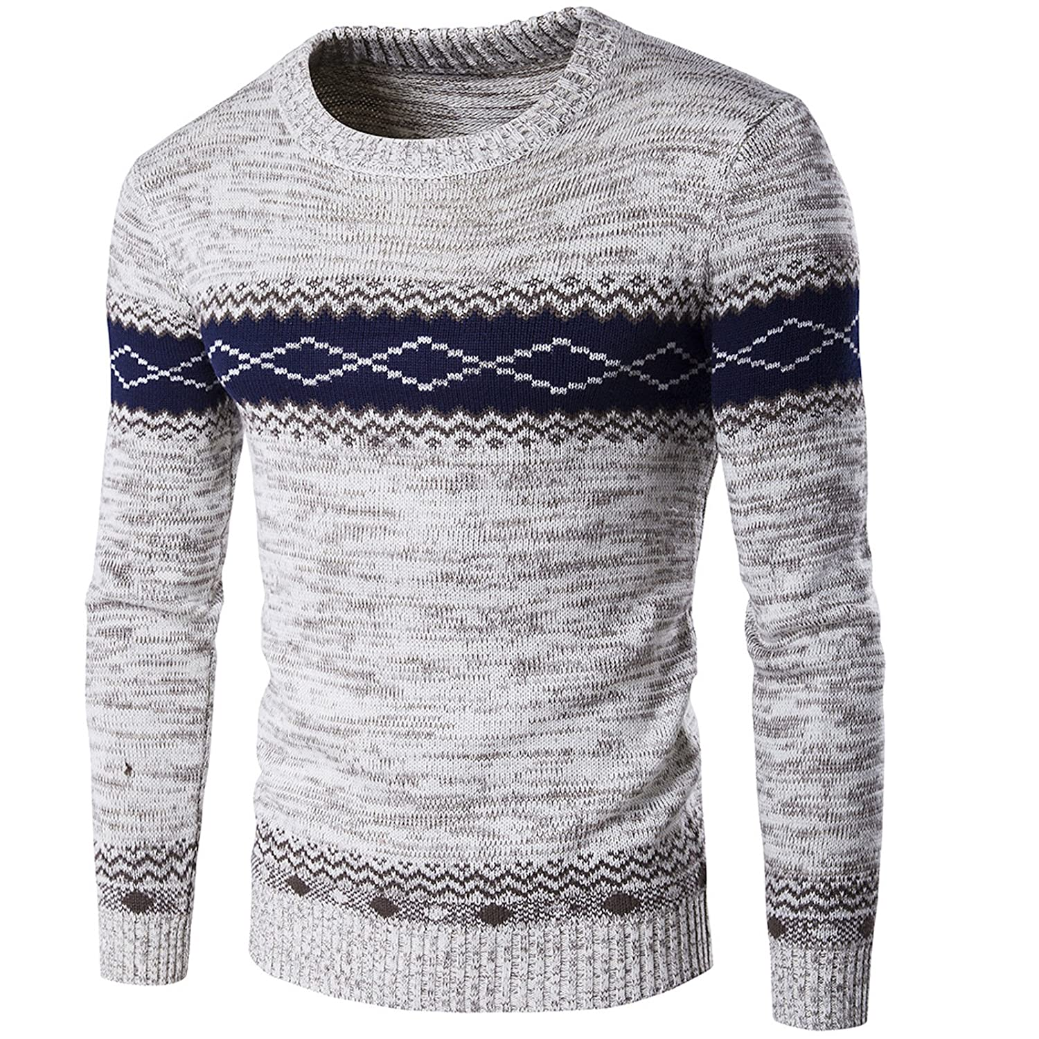 Elonglin Men's Sweater Knitted Pullover Aztec Pattern Long Sleeve Crewneck EL.AW-Y252