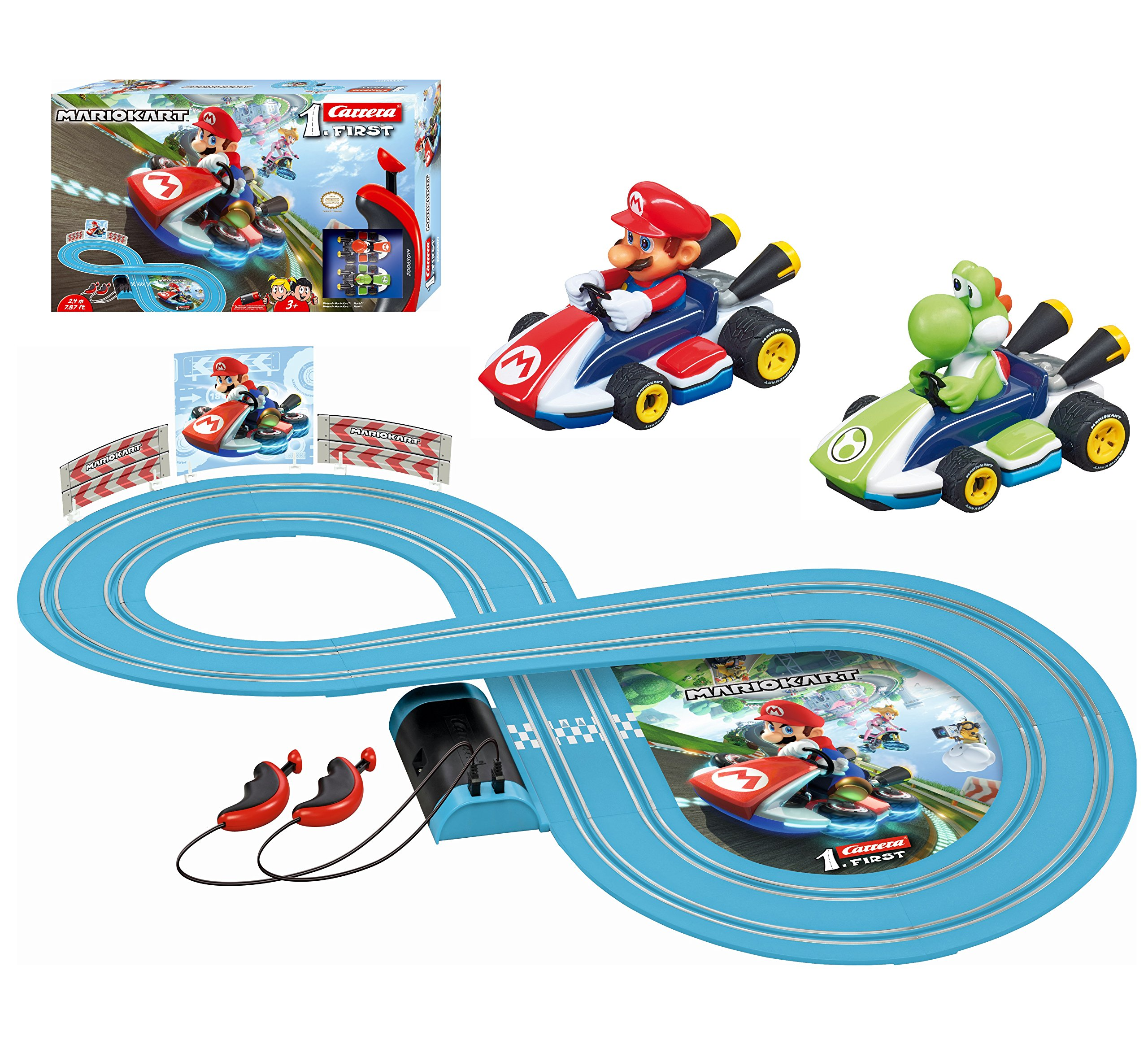 Carrera First Nintendo Mario Kart Slot Car Race Track - Includes 2 Cars: Mario and Yoshi and Two-Controllers - Battery-Powered Beginner Set for Kids Ages 3 Years and Up by Carrera