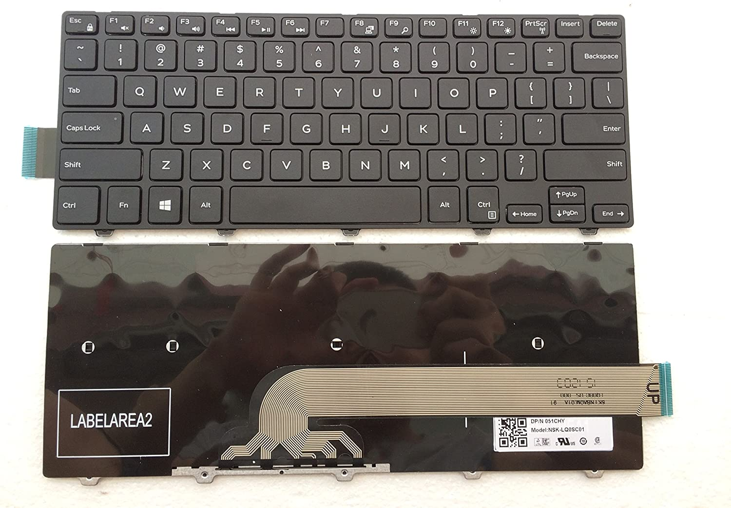 New Laptop Replacement Keyboard for Dell Inspiron 14 3000 14-3000 3441 3442 3443 3445 3446 3447 3449 3451 3458 3459 0FDKH0 NSK-LQ0SC PK1313PA109 Black Frame 14-3000