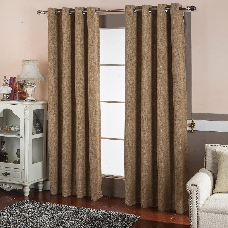 DREAMCITY Solid Grommet Faux Linen Blackout Curtains